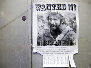 """Wanted"" poster featuring hero of Life of Brian"