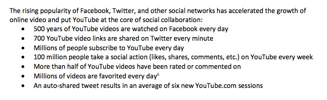 screenshot of social media video stats from marketing report