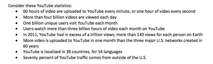 screenshot of YouTube statistics from marketing report