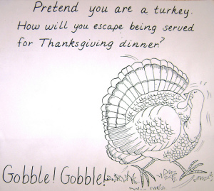 drawing of a turkey running away from Thanksgiving